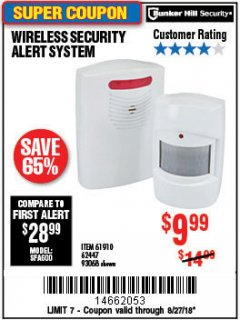 Harbor Freight Coupon WIRELESS SECURITY ALERT SYSTEM Lot No. 61910 / 62447 / 90368 Expired: 8/27/18 - $9.99