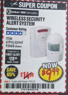 Harbor Freight Coupon WIRELESS SECURITY ALERT SYSTEM Lot No. 61910 / 62447 / 90368 Expired: 10/31/18 - $9.99