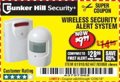 Harbor Freight Coupon WIRELESS SECURITY ALERT SYSTEM Lot No. 61910 / 62447 / 90368 Expired: 12/26/18 - $9.99