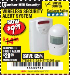 Harbor Freight Coupon WIRELESS SECURITY ALERT SYSTEM Lot No. 61910 / 62447 / 90368 Expired: 1/11/19 - $9.99
