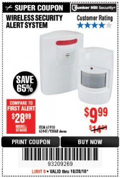 Harbor Freight Coupon WIRELESS SECURITY ALERT SYSTEM Lot No. 61910 / 62447 / 90368 Expired: 10/28/18 - $9.99