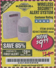 Harbor Freight Coupon WIRELESS SECURITY ALERT SYSTEM Lot No. 61910 / 62447 / 90368 Expired: 4/13/19 - $9.99