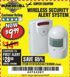 Harbor Freight Coupon WIRELESS SECURITY ALERT SYSTEM Lot No. 61910 / 62447 / 90368 Expired: 6/15/19 - $9.99