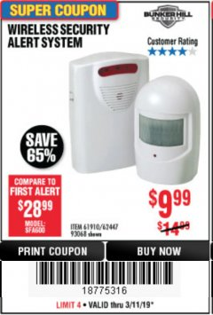 Harbor Freight Coupon WIRELESS SECURITY ALERT SYSTEM Lot No. 61910 / 62447 / 90368 Expired: 3/11/19 - $9.99