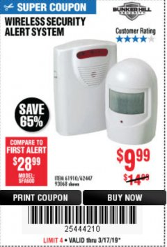Harbor Freight Coupon WIRELESS SECURITY ALERT SYSTEM Lot No. 61910 / 62447 / 90368 Expired: 3/17/19 - $9.99