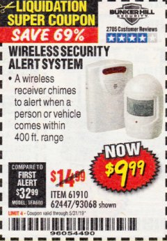 Harbor Freight Coupon WIRELESS SECURITY ALERT SYSTEM Lot No. 61910 / 62447 / 90368 Expired: 3/31/19 - $9.99