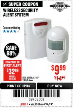Harbor Freight Coupon WIRELESS SECURITY ALERT SYSTEM Lot No. 61910 / 62447 / 90368 Expired: 4/14/19 - $9.99