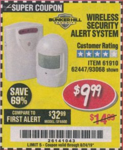 Harbor Freight Coupon WIRELESS SECURITY ALERT SYSTEM Lot No. 61910 / 62447 / 90368 Expired: 8/24/19 - $9.99