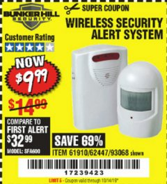 Harbor Freight Coupon WIRELESS SECURITY ALERT SYSTEM Lot No. 61910 / 62447 / 90368 Expired: 10/14/19 - $9.99