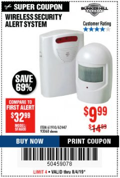 Harbor Freight Coupon WIRELESS SECURITY ALERT SYSTEM Lot No. 61910 / 62447 / 90368 Expired: 8/4/19 - $9.99
