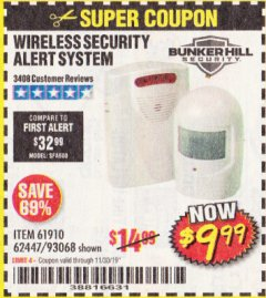 Harbor Freight Coupon WIRELESS SECURITY ALERT SYSTEM Lot No. 61910 / 62447 / 90368 Expired: 11/30/19 - $9.99