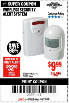 Harbor Freight Coupon WIRELESS SECURITY ALERT SYSTEM Lot No. 61910 / 62447 / 90368 Expired: 10/27/19 - $9.99