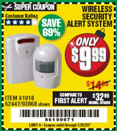 Harbor Freight Coupon WIRELESS SECURITY ALERT SYSTEM Lot No. 61910 / 62447 / 90368 Expired: 1/25/20 - $9.99