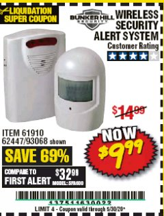 Harbor Freight Coupon WIRELESS SECURITY ALERT SYSTEM Lot No. 61910 / 62447 / 90368 Valid Thru: 5/30/20 - $9.99
