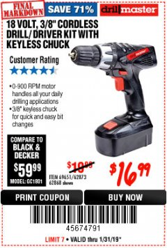 "Harbor Freight Coupon 18 VOLT CORDLESS 3/8"" DRILL/DRIVER WITH KEYLESS CHUCK Lot No. 68239/69651/62868/62873 Expired: 1/31/19 - $16.99"