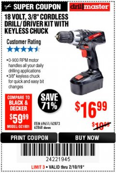 "Harbor Freight Coupon 18 VOLT CORDLESS 3/8"" DRILL/DRIVER WITH KEYLESS CHUCK Lot No. 68239/69651/62868/62873 Expired: 2/10/19 - $16.99"