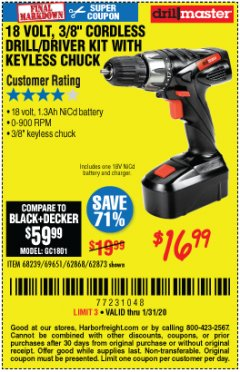"Harbor Freight Coupon 18 VOLT CORDLESS 3/8"" DRILL/DRIVER WITH KEYLESS CHUCK Lot No. 68239/69651/62868/62873 Expired: 1/31/20 - $16.99"