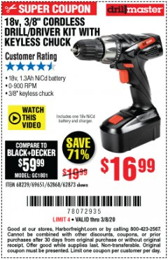 "Harbor Freight Coupon 18 VOLT CORDLESS 3/8"" DRILL/DRIVER WITH KEYLESS CHUCK Lot No. 68239/69651/62868/62873 Expired: 3/8/20 - $16.99"