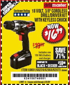 "Harbor Freight Coupon 18 VOLT CORDLESS 3/8"" DRILL/DRIVER WITH KEYLESS CHUCK Lot No. 68239/69651/62868/62873 Valid Thru: 5/23/20 - $16.99"