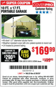 Harbor Freight Coupon COVERPRO 10 FT. X 17 FT. PORTABLE GARAGE Lot No. 69039/60727/62286/62860/63055/62864/62859 EXPIRES: 6/30/20 - $169.99
