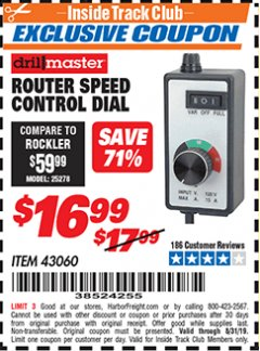 Harbor Freight ITC Coupon ROUTER SPEED CONTROL DIAL Lot No. 43060 Expired: 8/31/19 - $16.99