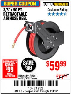 "Harbor Freight Coupon HEAVY DUTY RETRACTABLE AIR HOSE REEL WITH 3/8"" x 25 FT. HOSE Lot No. 69234/46104/69266 Expired: 1/14/19 - $59.99"