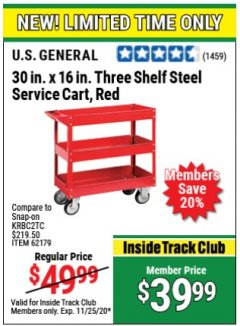 Harbor Freight ITC Coupon 16 x 30 THREE SHELF STEEL SERVICE CART Lot No. 6650/62179/61165 Expired: 11/25/20 - $39.99