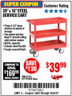 Harbor Freight Coupon 16 x 30 THREE SHELF STEEL SERVICE CART Lot No. 6650/62179/61165 Expired: 8/20/18 - $39.99