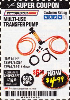 Harbor Freight Coupon MULTI-USE TRANSFER PUMP Lot No. 63144/63591/61364/62961/66418 Expired: 11/30/18 - $4.99