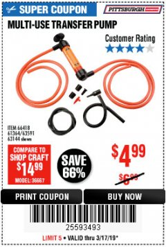 Harbor Freight Coupon MULTI-USE TRANSFER PUMP Lot No. 63144/63591/61364/62961/66418 Expired: 3/17/19 - $4.99