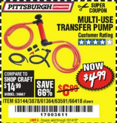 Harbor Freight Coupon MULTI-USE TRANSFER PUMP Lot No. 63144/63591/61364/62961/66418 Expired: 10/14/19 - $4.99