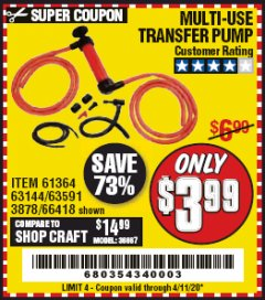 Harbor Freight Coupon MULTI-USE TRANSFER PUMP Lot No. 63144/63591/61364/62961/66418 Valid Thru: 4/11/20 - $3.99
