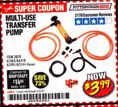 Harbor Freight Coupon MULTI-USE TRANSFER PUMP Lot No. 63144/63591/61364/62961/66418 Valid: 2/18/20 - 4/18/20 - $3.99