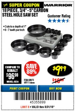 "Harbor Freight Coupon 18 PC 3/4""-5"" CARBON STEEL HOLE SAW SET Lot No. 69073/68115 Expired: 7/27/18 - $9.99"