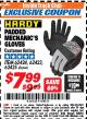 Harbor Freight ITC Coupon PADDED MECHANICS GLOVES Lot No. 62424/62423/62425 Expired: 4/30/18 - $7.99