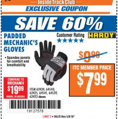 Harbor Freight ITC Coupon PADDED MECHANICS GLOVES Lot No. 62424/62423/62425 Expired: 5/8/18 - $7.99