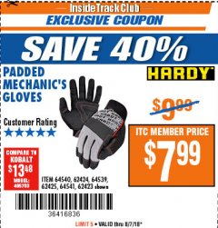 Harbor Freight ITC Coupon PADDED MECHANICS GLOVES Lot No. 62424/62423/62425 Expired: 8/7/18 - $7.99