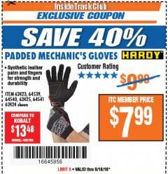 Harbor Freight ITC Coupon PADDED MECHANICS GLOVES Lot No. 62424/62423/62425 Expired: 9/18/18 - $7.99
