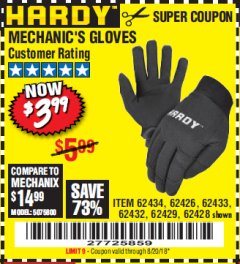 Harbor Freight Coupon PADDED MECHANICS GLOVES Lot No. 62424/62423/62425 Expired: 8/20/18 - $3.99