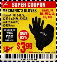 Harbor Freight Coupon PADDED MECHANICS GLOVES Lot No. 62424/62423/62425 Expired: 1/1/19 - $3.99