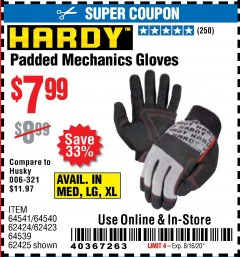 Harbor Freight Coupon PADDED MECHANICS GLOVES Lot No. 62424/62423/62425 Valid: 6/14/20 - 8/16/20 - $7.99