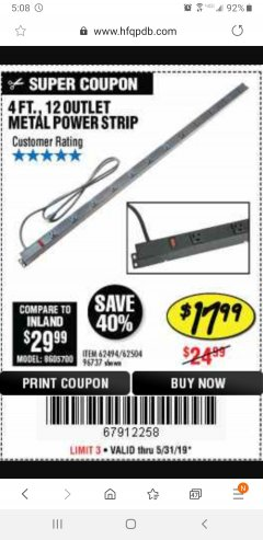 Harbor Freight Coupon 4 FT. 12 OUTLET METAL POWER STRIP Lot No. 96737/62494/62504/61597 Expired: 5/31/19 - $17.99