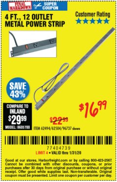 Harbor Freight Coupon 4 FT. 12 OUTLET METAL POWER STRIP Lot No. 96737/62494/62504/61597 Expired: 1/31/20 - $16.99