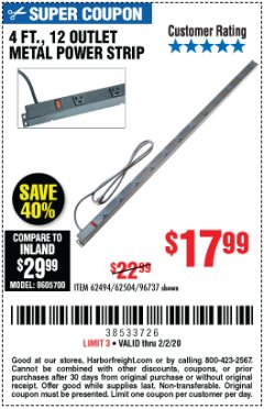 Harbor Freight Coupon 4 FT. 12 OUTLET METAL POWER STRIP Lot No. 96737/62494/62504/61597 Expired: 2/2/20 - $17.99