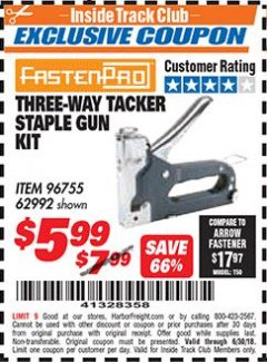 Harbor Freight ITC Coupon THREE-WAY TACKER STAPLE GUN KIT Lot No. 62992 Expired: 6/30/18 - $5.99
