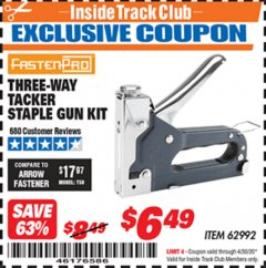 Harbor Freight ITC Coupon THREE-WAY TACKER STAPLE GUN KIT Lot No. 62992 Expired: 4/30/20 - $6.49