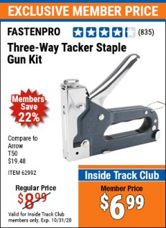 Harbor Freight ITC Coupon THREE-WAY TACKER STAPLE GUN KIT Lot No. 62992 Valid: 10/1/20 - 10/31/20 - $6.99