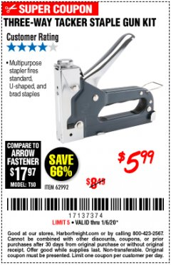 Harbor Freight Coupon THREE-WAY TACKER STAPLE GUN KIT Lot No. 62992 Expired: 1/6/20 - $5.99
