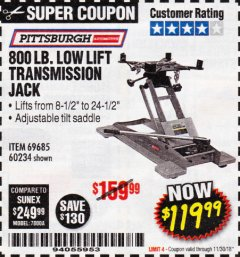 Harbor Freight Coupon 800 LB. CAPACITY LOW LIFT TRANSMISSION JACK Lot No. 69685/60234 Expired: 11/30/18 - $119.99