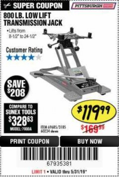 Harbor Freight Coupon 800 LB. CAPACITY LOW LIFT TRANSMISSION JACK Lot No. 69685/60234 Expired: 5/31/19 - $119.99